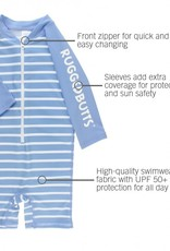 RuggedButts Cornflower Blue Stripe Rash Guard Bodysuit