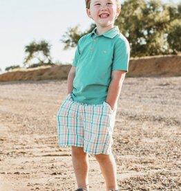 RuggedButts Turquoise Polo Shirt & Plaid Short Set
