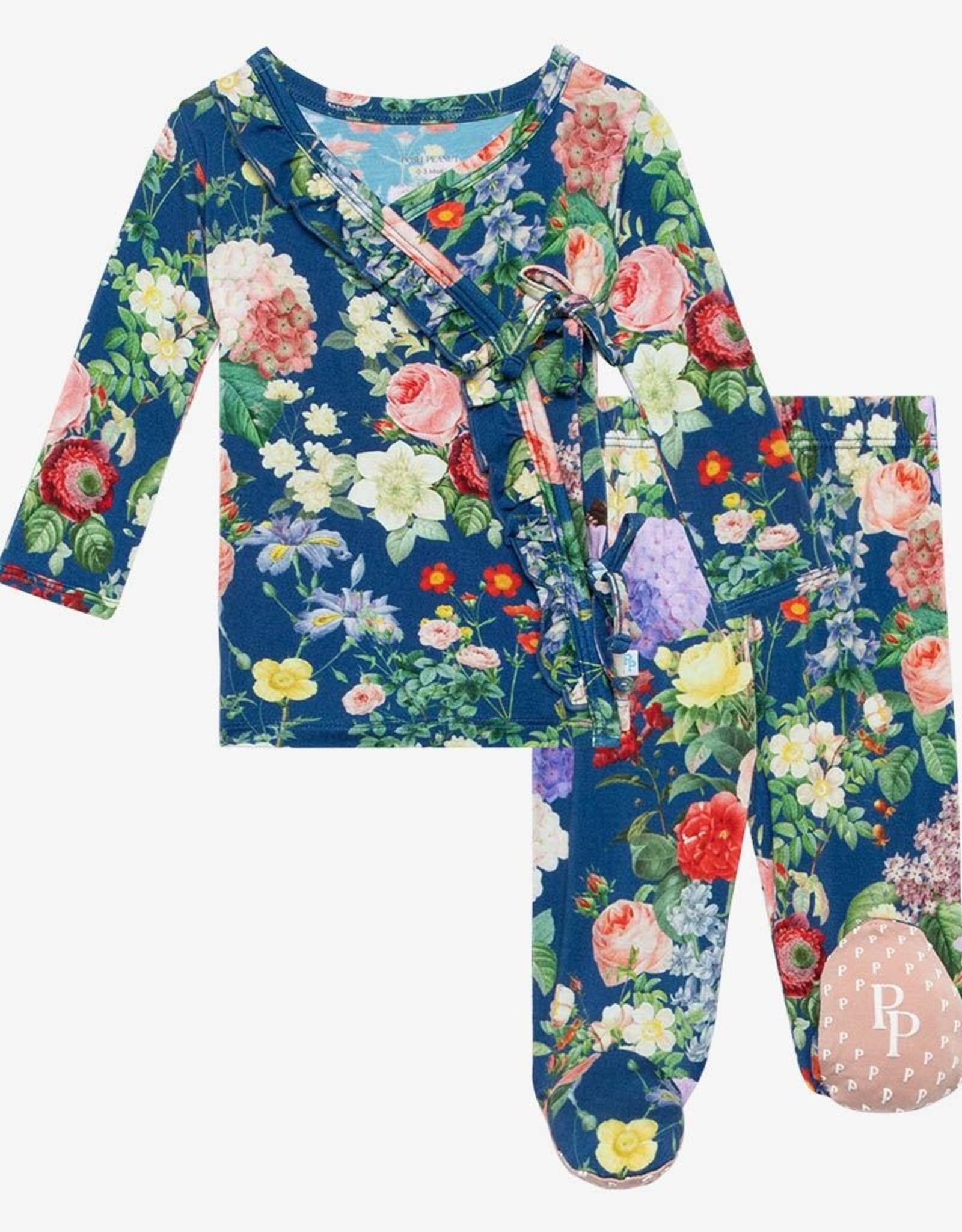 Posh Peanut Carmen - Tie Front Ruffled Kimono Set 0-3 months