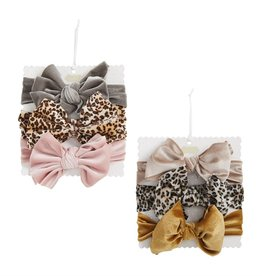 Mud Pie Velvet Leopard Headband Bow Set