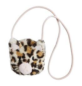 Mud Pie Ivory Leopard Faux Fur Cat Purse