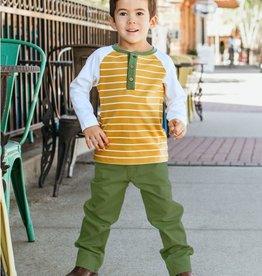 RuggedButts Golden Yellow Stripe Raglan Henley Toddler Tee