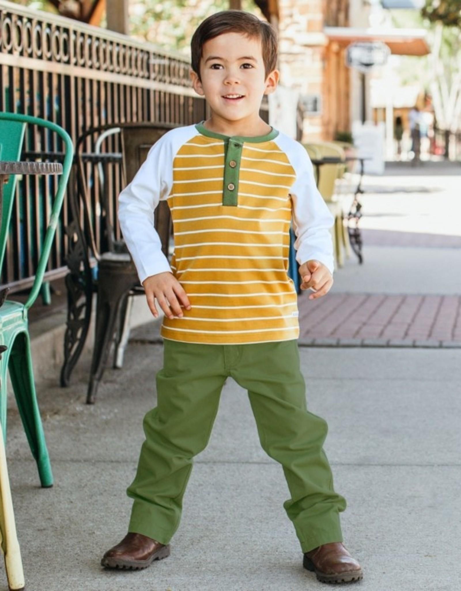 RuggedButts Golden Yellow Stripe Raglan Henley Tee 18-24 months