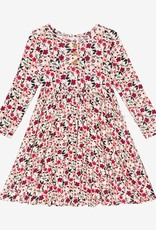 Posh Peanut Janie -  Toddler Henley Twirl Dress Lng Slv