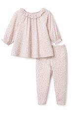 Elegant Baby BLUSH WILDFLOWER PRINT BAMBOO FLUTTER BLOUSE + LEGGING SET