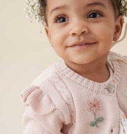 Elegant Baby BLUSH FLORAL EMBROIDERED KNIT CARDIGAN