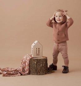 Elegant Baby Bear Ear Knit Cardigan - Rust