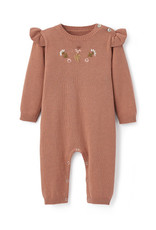 Elegant Baby Floral Embroidered Knit Jumpsuit - Rust