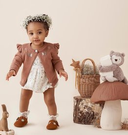 Elegant Baby Floral Embroidered Knit Cardigan - Rust