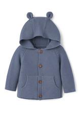 Elegant Baby Bear Ear Knit Cardigan - Slate