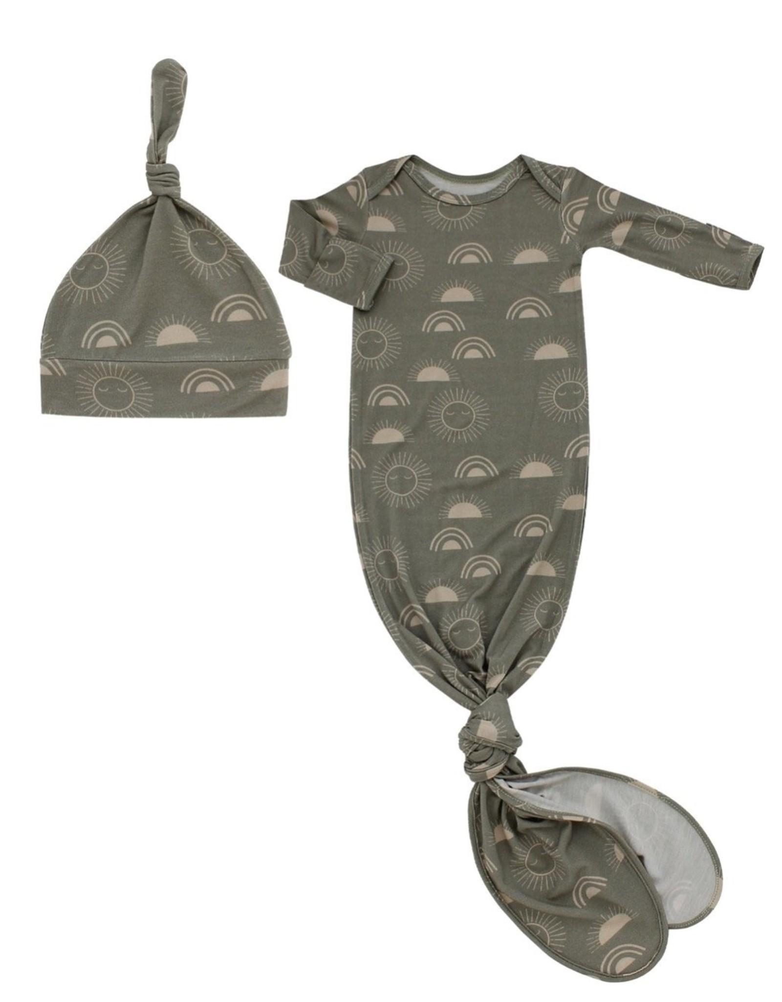 Celestial Sun Bamboo Gown  w/ Hat Newborn Gift Set