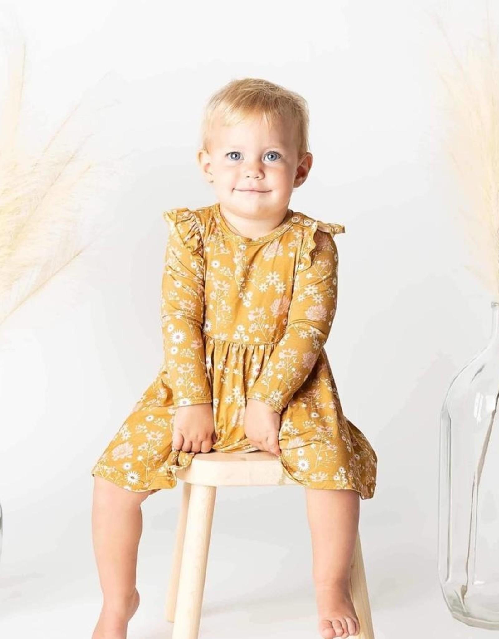 Mustard Floral Bamboo Dress