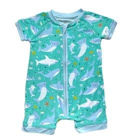 Little Sleepies Shark Soiree Bamboo Zippy Shorty Infant Sleeper Pajamas
