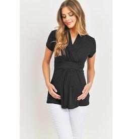 Surplice V-Neck Rayon Jersey Maternity/Nursing Top