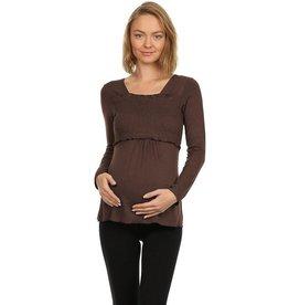 Smocked Baby Doll Long Sleeve Maternity Nursing Top - Brown
