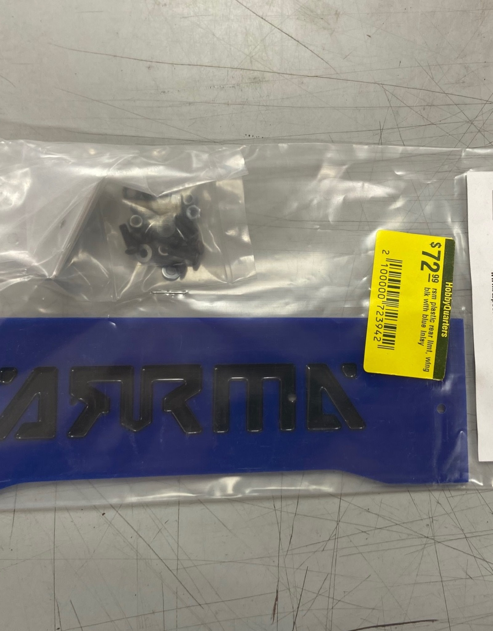 RC Speed Monsters RSM  ARRMA Infraction ProMod Rear Plastic Wing Blue Plastic with Black inlay