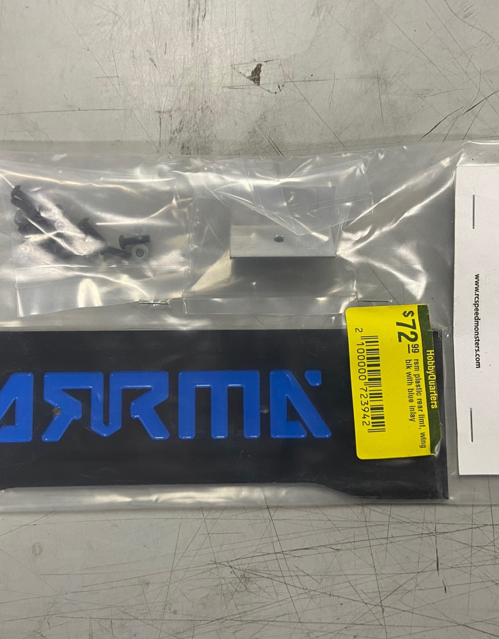 RC Speed Monsters RSM  ARRMA Infraction ProMod Rear Plastic Wing Black Plastic with Blue inlay