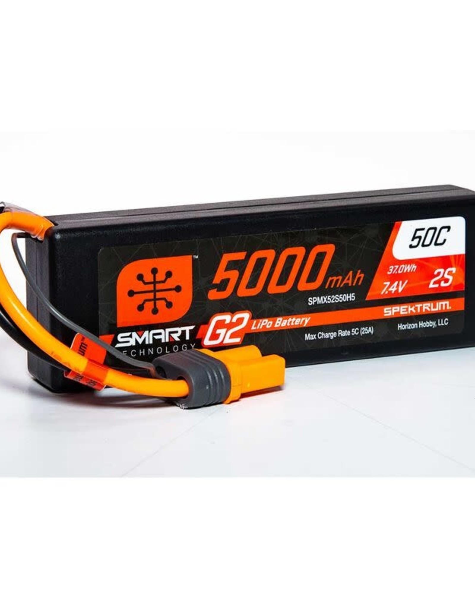 spektrum SPMX52S50H55000mAh 2S 7.4V Smart G2 LiPo 50C Hard Case; IC5