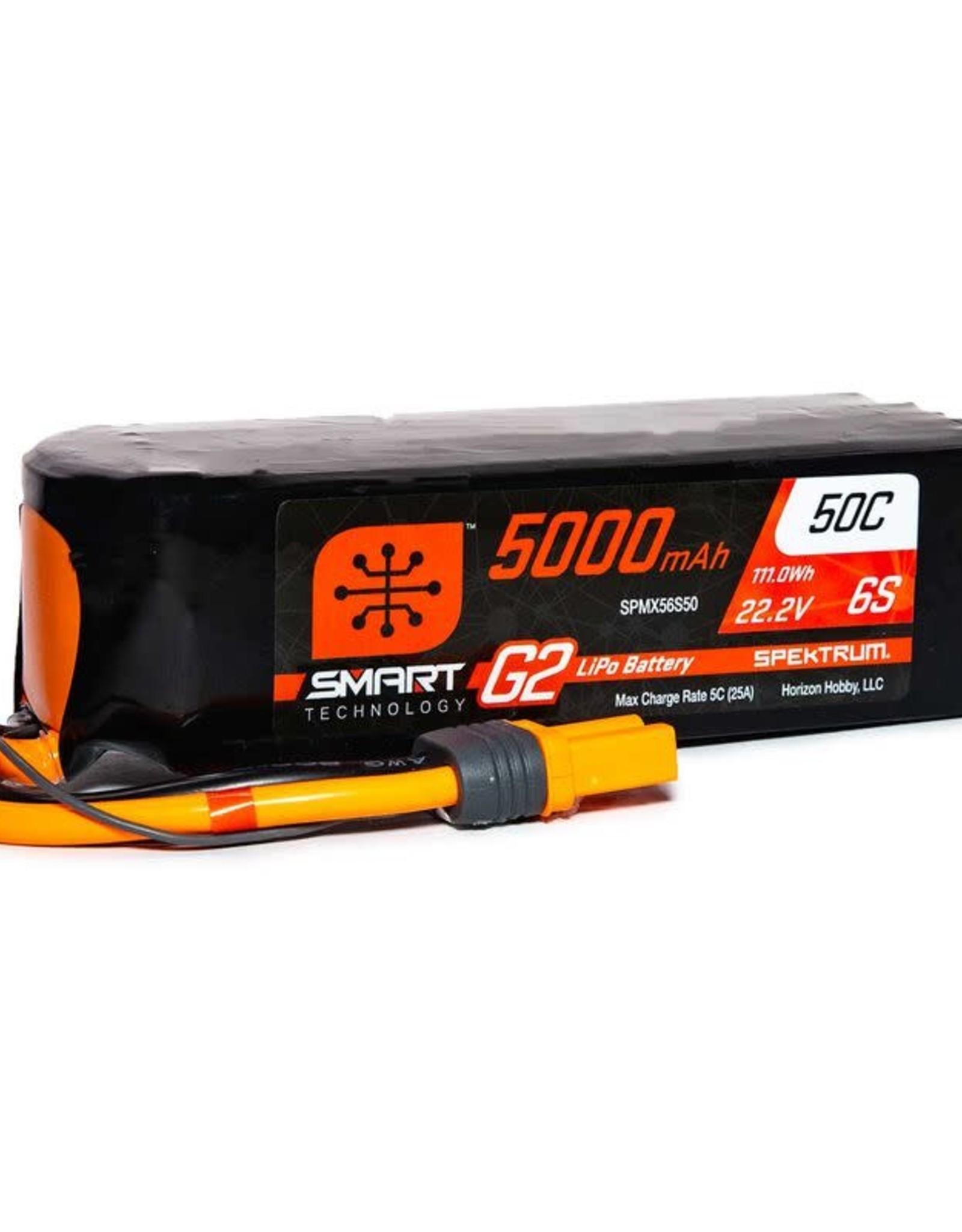 spektrum SPMX56S50 22.2V 5000mAh 6S 50C Smart LiPo G2: IC5