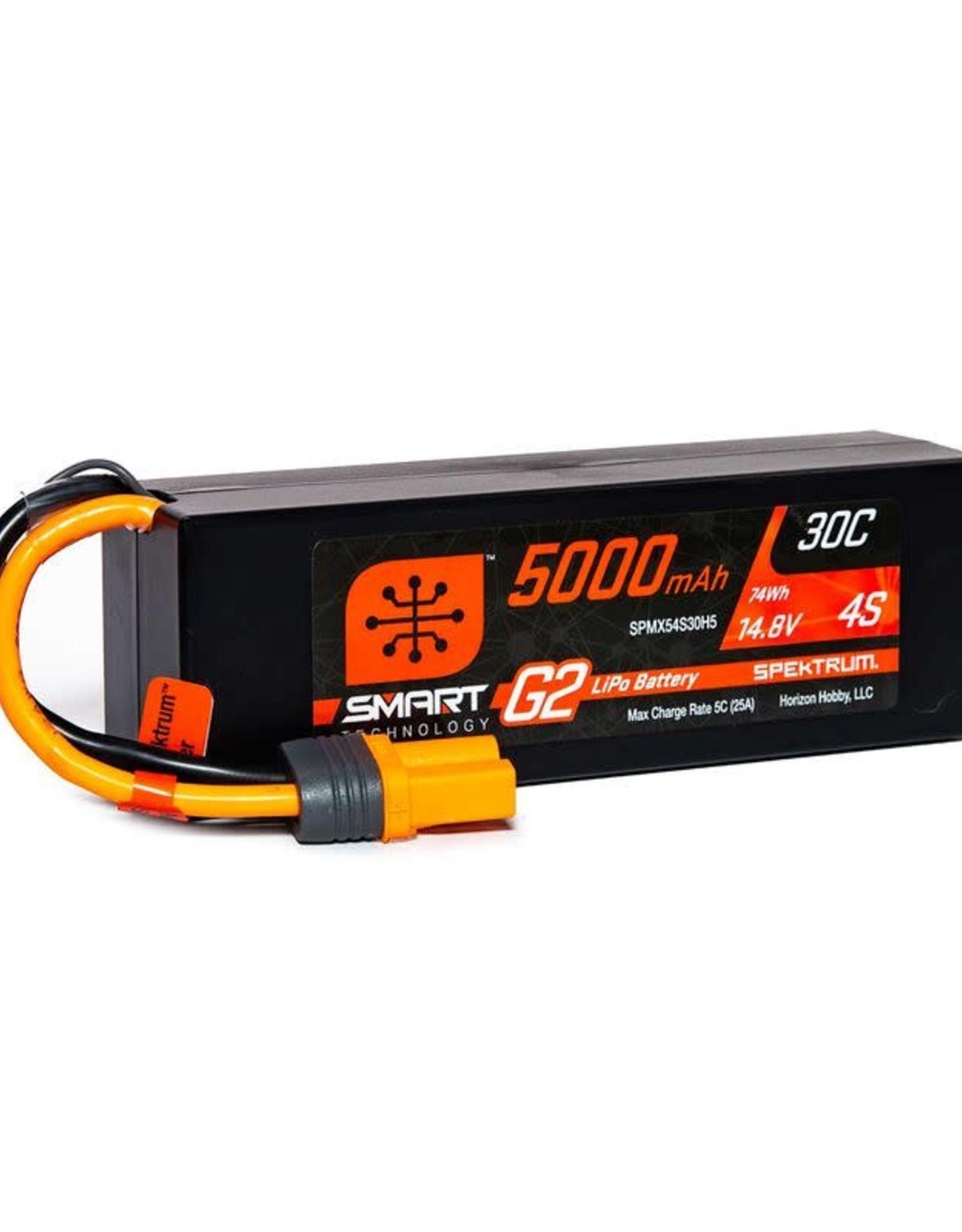 spektrum SPMX54S30H5 14.8V 5000mAh 4S 30C Smart LiPo G2 Hard Case: IC5