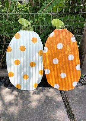 Polka Dot Pumpkin Metal Door Hanger