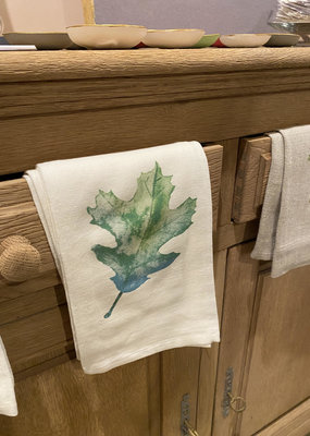 Green Oak Leaf Tea Towel | Cotton