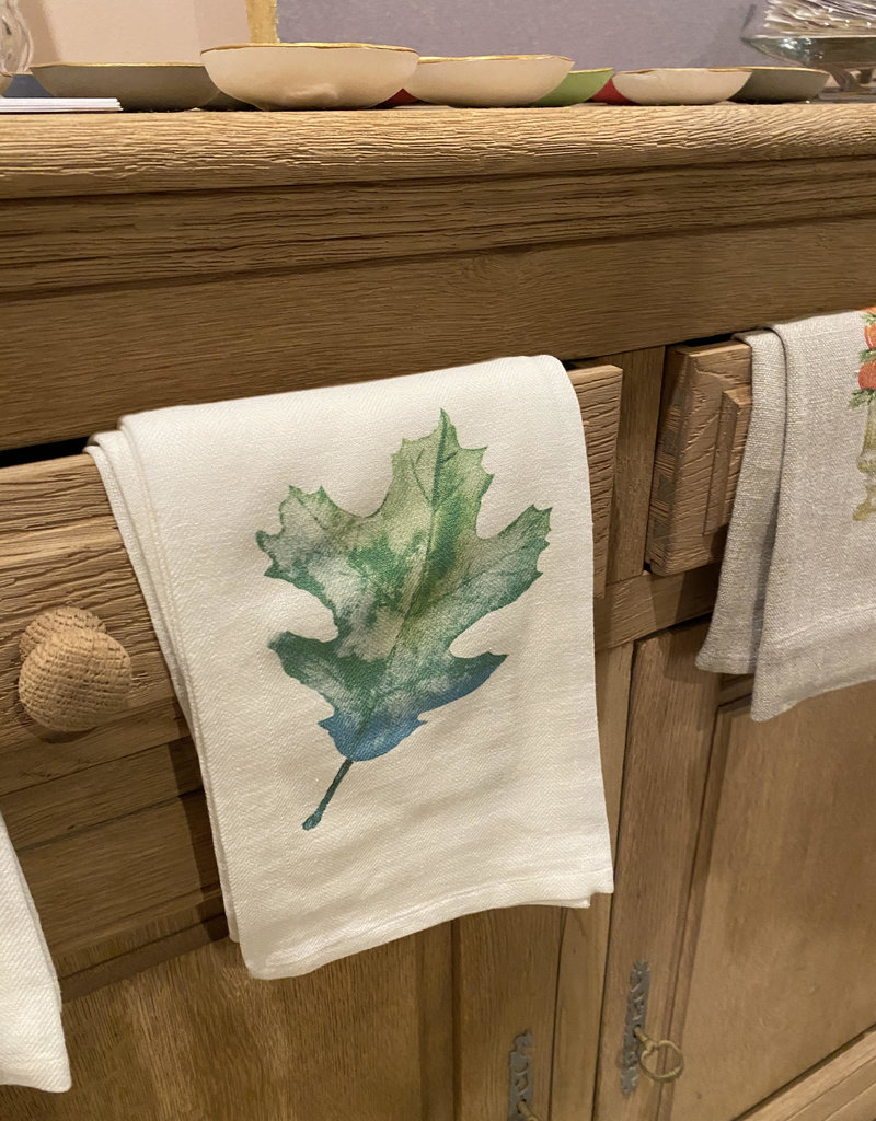 Green Oak Leaf Tea Towel | Cotton