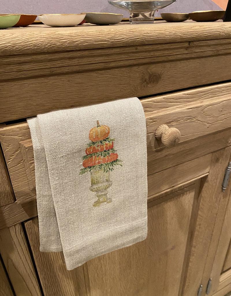 Flax Linen Tea Towel Pumpkin Topiary