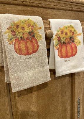 Pumpkin Fall Flowers Tea Towel