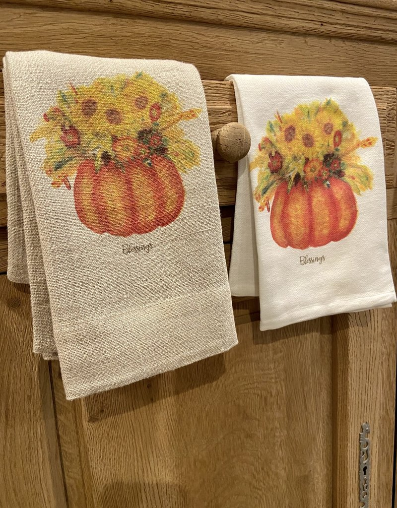 Pumpkin Fall Flowers Tea Towel