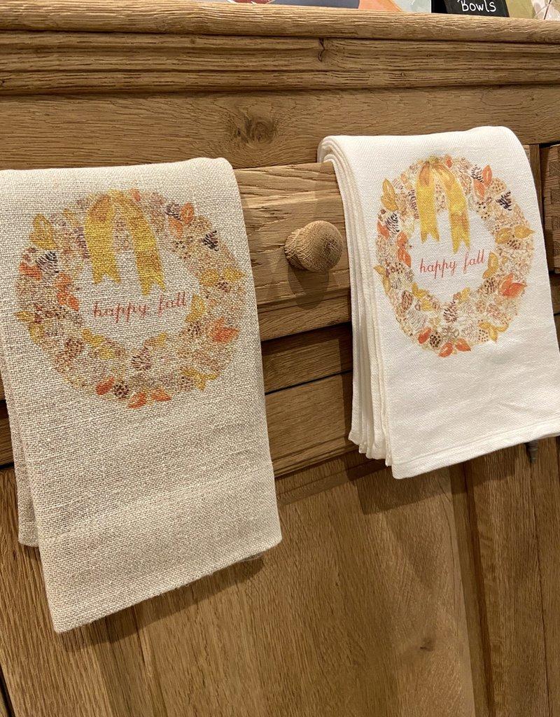 Happy Fall Wreath Tea Towel