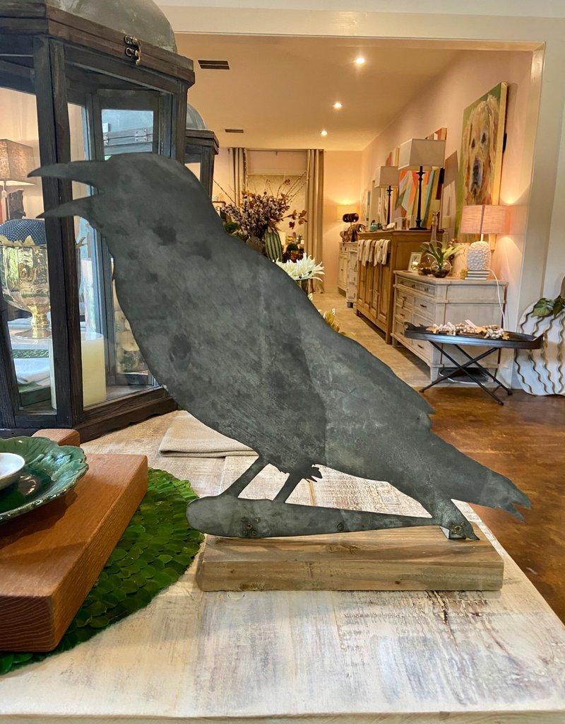 Tin Crow on Wooden Base