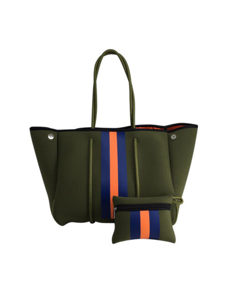 Army Green with Orange Stripe Neoprene Tote