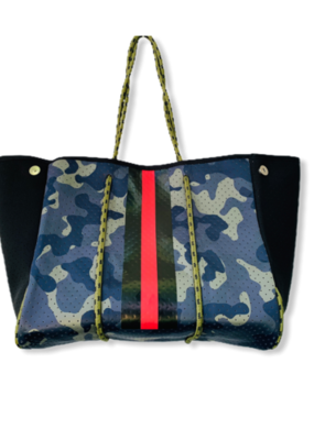 Neoprene Tote | Camo with Red Stripe