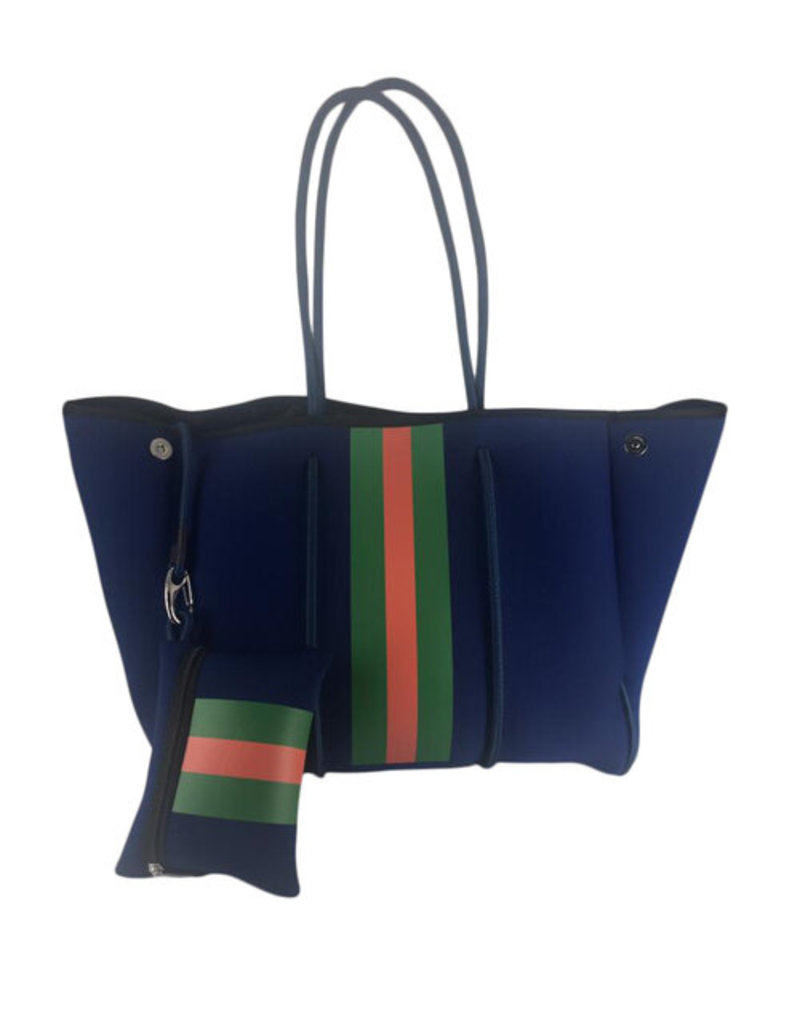 Navy with Red Stripe Neoprene Tote