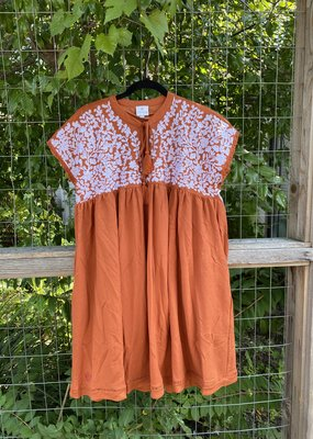 Embroidered Dress | Burnt Orange