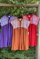 Embroidered Dress Burnt Orange