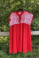 Embroidered Dress Red
