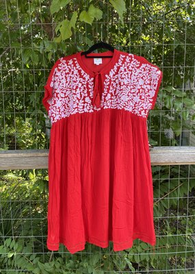Embroidered Dress | Red