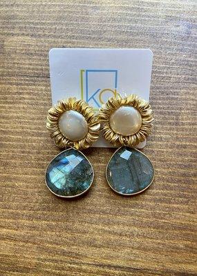 Pearl Scribble Earrings | Dark Drop
