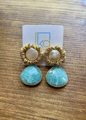 Pearl Scribble Earrings | Blue Drop