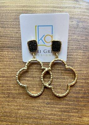 Quatrefoil Druzy Earrings | Black