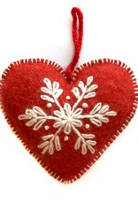 Embroidered Wool Red Heart Ornament