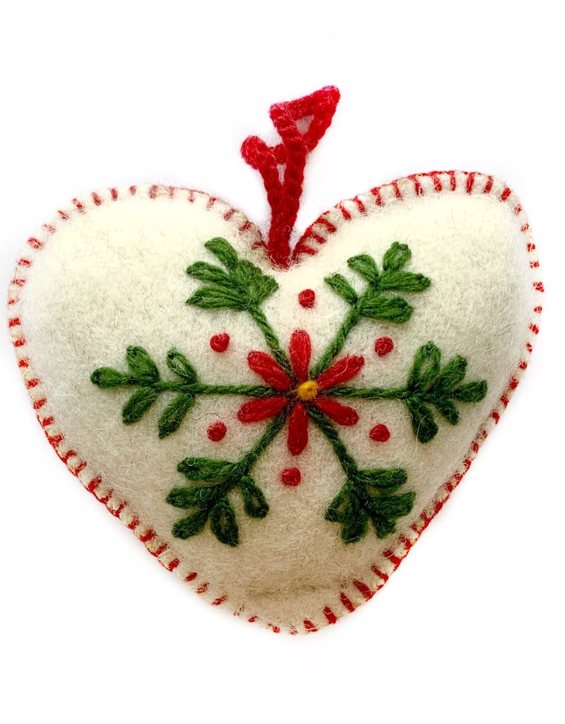Embroidered Wool White Heart Ornament
