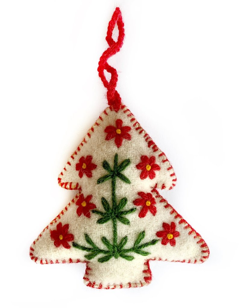 Embroidered Wool White Tree Ornament