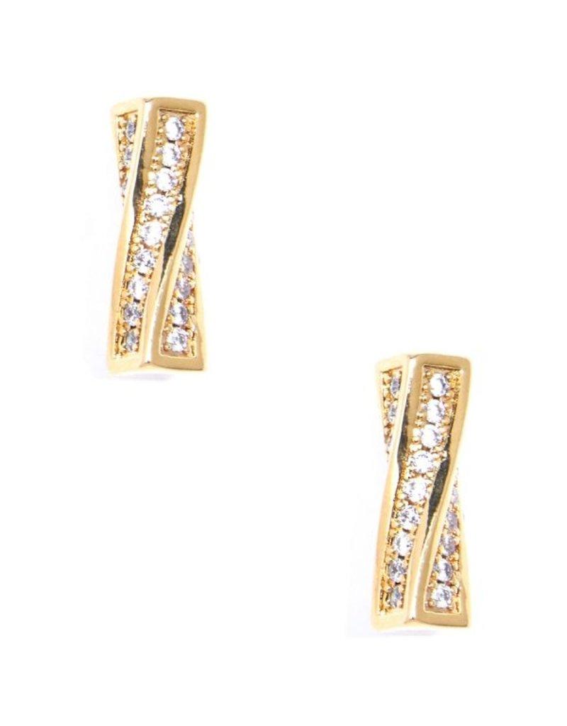 Twisted Pave Bar Stud Earrings