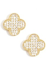 Gold Quatrefoil Stud Earrings