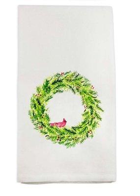 Wreath with Cardinal Tea Towel | Cotton