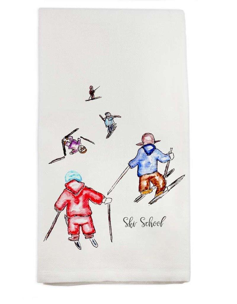 Ski School Tea Towel
