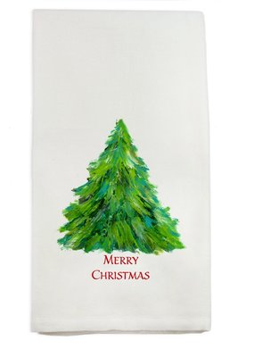 Merry Christmas Tree Tea Towel | Cotton